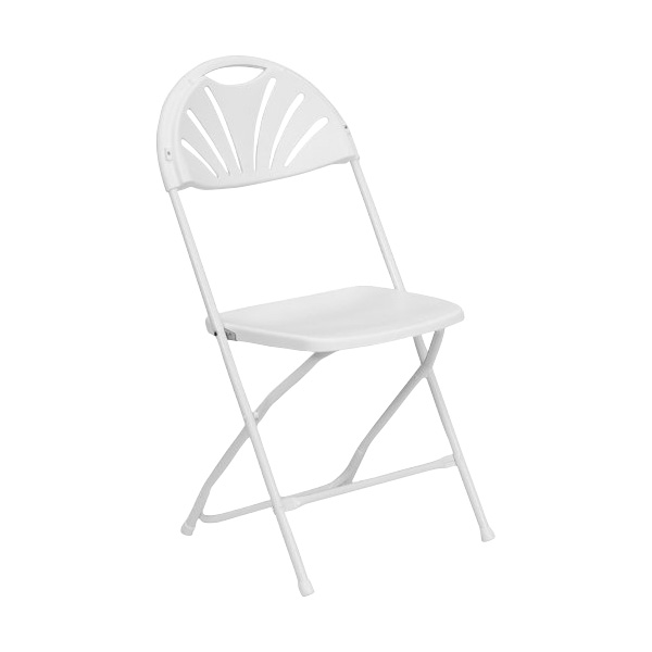 Immedia Hercules White Plastic Fan Back Folding Chair